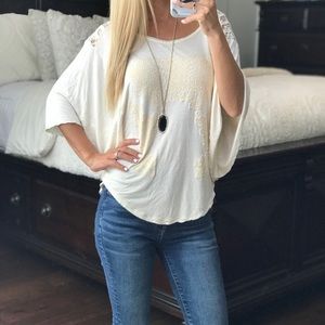 Free People Ivory Short Sleeve Top